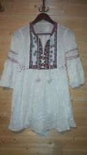 ODD MOLLY EMBROIDERED 3/4 SLEEVE COTTON TUNIC DRESS SZ 1