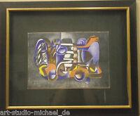 Norddeutsche Künstler: Pit Morell;Komposition von 1978 Farbstiftzeichnung