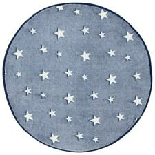Glow in the Dark Rug Navy Blue Stars Kids Bedroom Round Mat 70 x 70cm