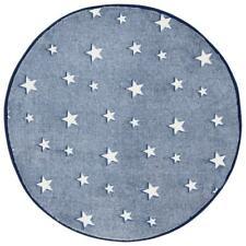 Glow IN The Dark Alfombra Azul Marino Stars Dormitorio Infantil Redondo Tapete