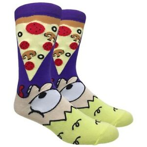 Men's FineFit Novelty Socks - Pizza Dude Purple