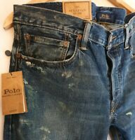 POLO RALPH LAUREN Sullivan Slim Stretch Jeans paint Distressed W34 L30