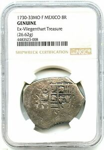1730 8-Reales Silver Spanish Coin, Vliengenthart Shipwreck Cob, NGC Graded--Nice