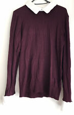 Dorothy Perkins Size 12 Burgandy Jumper With Built In Shirt Collar And Sleeves