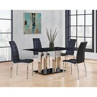 Global Furniture D252DT W/D716DC Silver Unique Style Base Dining Table W/ Chair