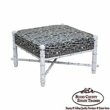 Custom Painted Faux Bamboo Large Square Upholstered Ottoman