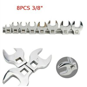 """8pcs 3/8"""" 10-19mm Drive Crows Foot Spanner Set Metric Open End Wrench Tool New"""