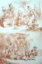 Jeux d'enfants Cariole Enfantina Rococo Francois Boucher Lithographie XIXe