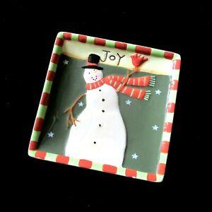 MWW Market Mini Plate Primitive Snowman Joy 4.5in Susan Winget Christmas Holiday