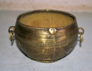 Antique Brass Hand Carved Rice Bowl Offering Bowl Beautiful Serving Bowl