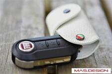 White Leather key case for 2012-2014 FIAT 500 & 2014-2016 500L PUNTO STILO