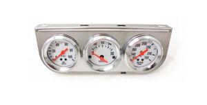 "2"" Triple Gauge Mechanical Oil Pressure Voltage Meter Water Temp  Chrome Bezel"