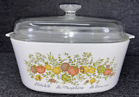 VTG 1972-88 Corning Ware Spice of Life A-5-B 5QT Casserole Dish Pyrex Lid A12C