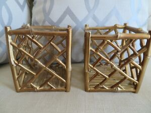New! PAIR Faux Bamboo CHINOISERIE CANDLEHOLDERS  Asian Chippendale Gold