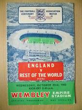 INTERNATIONAL MATCH PROGRAMME 1963- ENGLAND v REST OF THE WORLD, 23 OCT