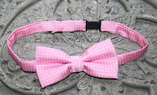 Adorable Boys Baby Toddler pink white polka dot Bow Tie Adjustable  Ring Bearer
