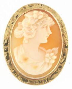 "Gorgeous Fine Gold Cameo Pin/Brooch 10kt Yellow Gold 2"" Inch"