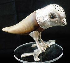 Silver & Cow Horn Novelty Bird Pepper Pot, London 1880, Frederick James Wiltshir
