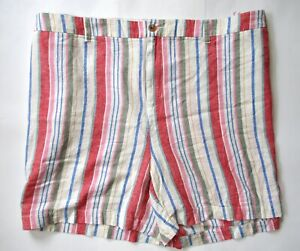 NWT Old Navy Colorful Stripe Everyday Shorts Mid-Rise Linen Blend Plus Size 30W