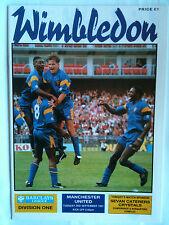 MINT 1991/92 Wimbledon v Manchester United 1st Division