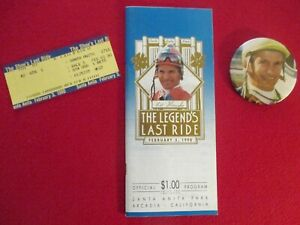 """WILLIE SHOEMAKER"" THE LEGENDS LAST RIDE - 2/3/90 -TICKET-BUTTON-PROGRAM"