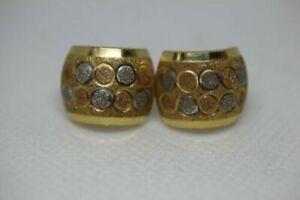18k Yellow White Rose Gold Tri Color Petite Circles Huggie Hoop Pierced Earrings