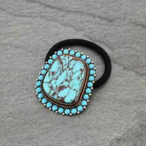Silver Turquoise Concho Ponytail Holder Hair Tie COWGIRL WESTERN BOHO