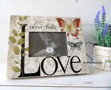 Love Photo Frame Picture Desk Butterfly Large wooden shabby chic 28 x 22 x 2cm