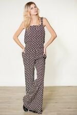 $188 FLYNN SKYE Party Overalls / Jumpsuit / Romper in Brown Ditsy Floral XS