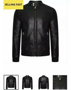 Men's Barneys Real Leather Bomber Jacket with Ribbed Cuffs & Waistline size XL
