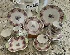 Queen Anne Sweet Violets Teacups Saucers Plates Creamer Sugar Trays ~ 14 Pieces