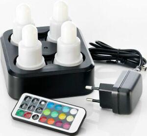 Duni 4er LED-Set 176506 Multicolor inkl. Fernbedienung und 4er Ladestation