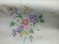 More details for vintage hand embroidered tablecloth floral 33.5 x 32.5 inches