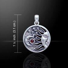 Sonne Mond & Sterne Granat Anhänger Silber Symbol Schmuck - NEU
