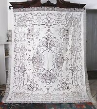 "Antique Linen Italian Point De Venise Needle Lace Filet Lace Tablecloth 92""x76"""