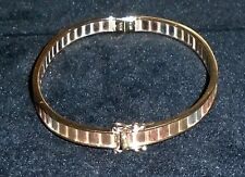 "14K YELLOW+ROSE+WHITE SOLID ETCHED GOLD OVAL BANGLE BRACELET ""MOD DEP"" ITALY 14g"