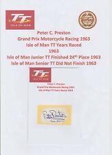 PETER PRESTON MOTORCYCLE RACER 1963 IOMTT RARE ORIGINAL HAND SIGNED CUTTING