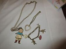 Jewelry, Childrens, Little Girl On a Gold Chain and Charm Bracelet