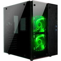 Rosewill Gaming Cube Computer PC Case ATX Mid Tower Green Fans CULLINAN PX GREEN