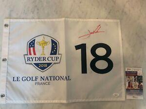 JON RAHM SIGNED 2018 Ryder Cup FLAG PGA TOUR AUTOGRAPHED JSA