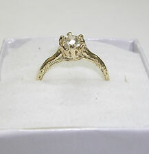 ANTIQUE @1900 14K YELLOW GOLD DIAMOND RING CROWN STYLE SIZE 7 .73 EUROPEAN CUT
