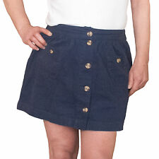 NAVY BLUE DENIM TWILL MINI SKIRT SIZE 14