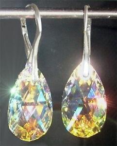 Echt Silber 925 Ohrringe mit Swarovski® Kristall Tropfen bunt glitzernd GROSS