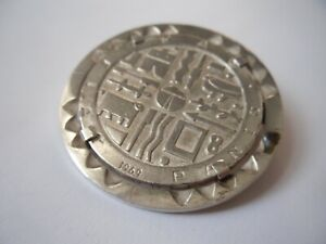 sterling silver pendant-brooch with URUGUAY MIL PESOS coin, 1969 FIAT PANIS