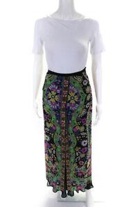 Etro Milano Womens Layered Zip Up Patterned Maxi Skirt Black Size 42