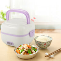 1L Stainless steel Electric Lunch Box Mini Rice Cooker Portable Food Steamer TOP