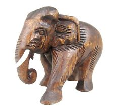 """Wood Elephant Sculpture Hand Carved Wooden Figurine Lucky Statue Thailand 5.5"""""""