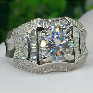 14K White Gold Finish 2Ct Round Cut Moissanite Men's Solitaire Engagement Ring