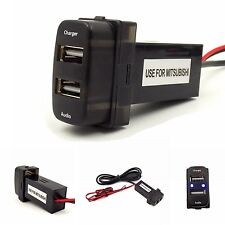 Dual USB Interface Charger and USB Audio Input Socket for Mitsubishi,ASX,Lancer
