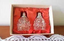 VINTAGE CUT GLASS SALT & PEPPER SHAKERS IN ORIGINAL BOX MINT